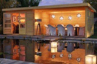 Karibu hochwertige Gartenhäuser Lodge kwp Baumarkt
