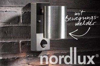 Modische Nordlux Tin Maxi Wandleuchte in Edelstahl, Kupfer schwarz weiß Bewegungsmelder bei kwp Baumarkt