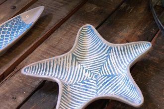 Keramikschüsseln mit Urlaubsfeeling Batela Keramikschüsseln in Fischform und Seesternform