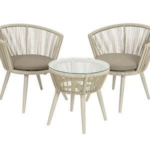 Möbel Set mit Glastisch Kopenhagen taupe