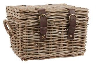 Ib Laursen Koffer aus Rattan mit Lederriemen